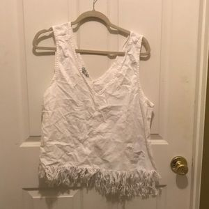 American Eagle distressed white denim tank top
